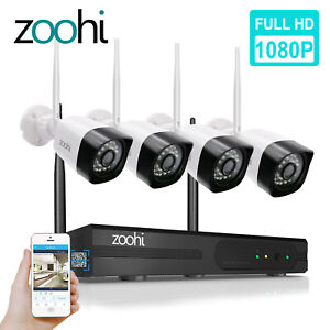 ZooHi 4CH 1080P Wireless Security Camera System NVR Kit Home WiFi CCTV Outdoor