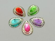 100 Mixed Color Acrylic Flatback Teardrop Rhinestone Gems 13X10mm Rivoli Center