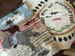 Lot of #2 - 1940s, 50s, Vintage Navajo Blankets, Rugs, Rare Great Seal Pictorial