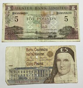 1992 ULSTER BANK LIMITED & 1994 CENTRAL BANK OF IRELAND FIVE POUND/£5 BANKNOTES