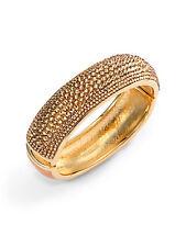 NIB $650 Judith Leiber Gold Swarovksi Glitz Crystal Enamel Bracelet Cuff Bangle