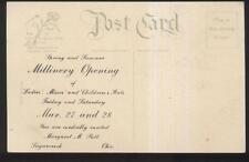 1910s Postcard Sugarcreek Oh/Ohio Margaret Putt Millinery Store Promo Ad