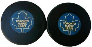 LOT OF 2 READ! TORONTO MAPLE LEAFS VINTAGE VICEROY MFG. 🇨🇦 NHL GAME PUCK GEM s