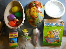 Vintage Papier Mache Easter Egg from 60s plus Easter accessories