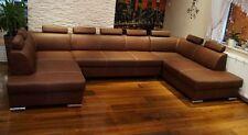 """Rindsleder Ecksofa """"London U-FORM """" Echt Leder Sofa Couch mit Bettfunktion"""