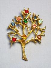Vintage Gold Tone & Rhinestone Tree Pendant - great condition