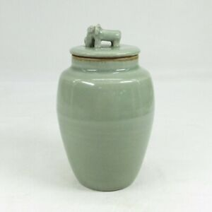 E957: Rare Japanese old SANDA blue porcelain covered pot with appropriate glaze