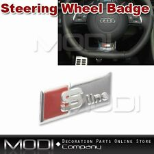 CHROME S LINE STEERING WHEEL BADGE EMBLEM STICKER FOR AUDI INTERIOR REPLACE