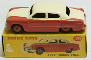 DINKY #170 FORD FORDOR, RED LOWER, CREAM UPPER, RED HUBS, EXC W/ CORRECT VG BOX