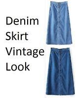 Womens Ladies Long Denim Pencil Skirt A Line Jeans Button Front Vintage Midi 814