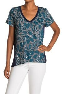 NWT Tommy Bahama Breezy Blooms Mixed V-Neck Tee Deep Sea Teal Blue Top size S