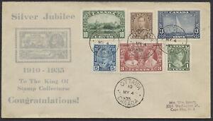 1935 #211-216 George V Silver Jubilee FDC, Roessler Cachet, Ottawa
