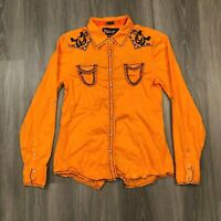 Roar Signature Womens Large Orange Embroidered Embellished Jewel Button Shirt
