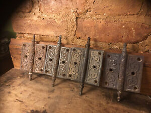 "lot 4 - 3"" x 3"" Drop Recessed Pin Antique Victorian Steeple Tip cast iron Hinges"