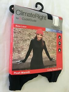 New Climate Right Cuddl Duds Women Plush Warmth Long sleeve Crew Top Black