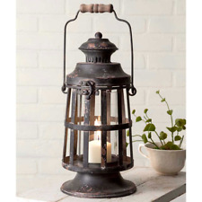 Rustic, Farmhouse Country Heavily Distressed Metal CURTIS ISLAND CANDLE LANTERN
