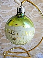 Vintage Christmas Ornament - MERCURY GLASS STENCIL GREETINGS MADE IN USA