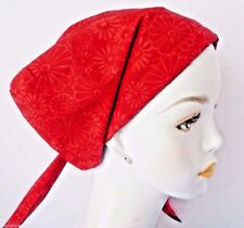 Fun Cheerful Red Daisy Hand Dyed Batik Cancer Chemo Hat 100% Cotton Head Scarf