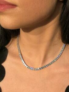 Platinum Sterling Silver White Sapphire Ascher Cut Classic Tennis Necklace Gift