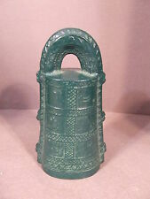 Antique Green Cast Iron Bell With Characters Turtle, Hunters, Moon, Bird