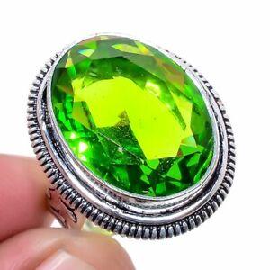 Burmese Peridot Gemstone 925 Sterling Silver Handmade Jewelry Ring s.7 S266