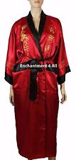 Reversible Embroidered Dragon Design Silk Kimono Robe Black/Red