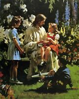 """Catholic print picture -  JESUS WITH CHILDREN 2  -   8"""" x 10"""" ready to be framed"""