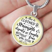 Novelty Inspirational Luxury Necklace For Women Proverbs 31:25 Christian Pendant