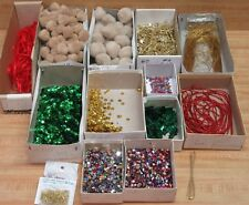 Lot of Assorted Craft Supplies Pom-Poms Sequins Ribbon Rhinestones Pins Beads