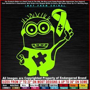 Autism Minion with Ribbon Awareness Super Hero Children Sticker Decal