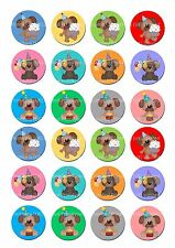 24 icing cake toppers decorations fairy bun ND3 colourful dogs puppies cute
