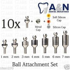 10 Ball Attachment Set Titanium Abutments for Internal Hex Dental Prosthetics
