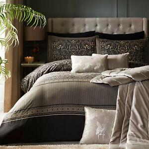 LLB Designer SALIZADA Damask 100% Cotton Black & Gold Quilt Cover Bedding Set