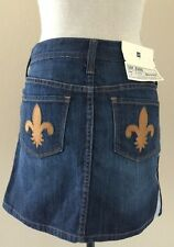 GAP Jeans Denim Stretch Skirt size 2 Dark Wash Fleur de Lis Pockets