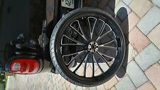 BLACK CONTRAST VCUT 23 X 3.5 DUAL DISC WHEEL TOURING HARLEY 00-07 & CUSTOM APP