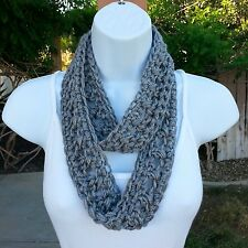 Gray SUMMER SCARF Infinity Loop Small Narrow Grey Handmade Crochet Knit Necklace