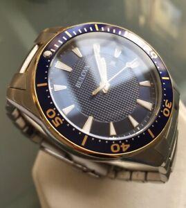 Mens Genuine Bulova Navy Blue Designer Watch 98B329 Submariner Bi Gold Steel