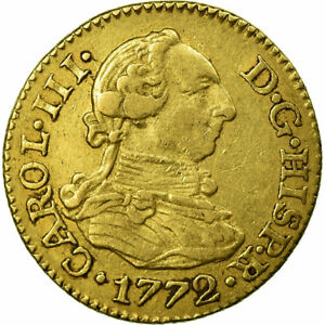 [#484108] Coin, Spain, Charles III, 1/2 Escudo, 1772, Madrid, EF(40-45), Gold