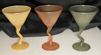 Vintage (3) Multicolored Z-Stem Frosted Martini Glasses