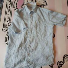 """Mens Size M 38-40"""" Celio Pale Blue 100% Linen Short Sleeve Shirt"""