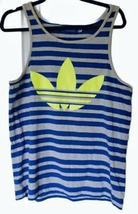 Adidas Tank Top Mens Medium Original Blue Grey Stripes Neon Yellow Logo