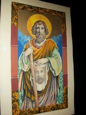 "Vtg. Josef M Kozak Original ""St. Jude"" Painting Gold Gild Detail Signed Unframed"