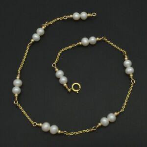 New Exquisite 14K Solid Gold 4mm Pearl Beaded Anklet bracelet 9- 10''