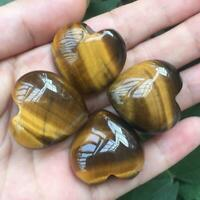 Natural Tiger's-Eye Stone Crystal Carved Heart Shaped Palm Healing Love Gemston