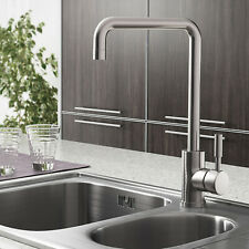 Modern Kitchen Mixer Tap Brushed Steel Bathroom Basin Sink Mono Spout Swivel UK