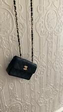 CHANEL black mini flap bag GOLD hardware Leather LAMBSKIN - UK Seller