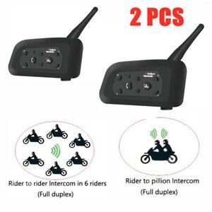 2PCS V6-1200 Bluetooth Moto Interfono 1200M Casco Cuffia Per 6 Motociclisti P0F4