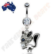 Clear Jewelled Squirrel with Blue CZ Eye and Faux Pearl Nut Belly Ring Dangle