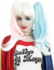 Suicide Squad Harley Quinn Blonde Wig w/ Clip On Pink Blue Pony Tails Cosplay