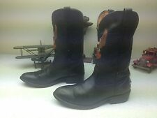 DISTRESSED HARLEY-DAVIDSON USA EAGLE BLACK LEATHER POWER ENGINEER BOOTS 11.5 M